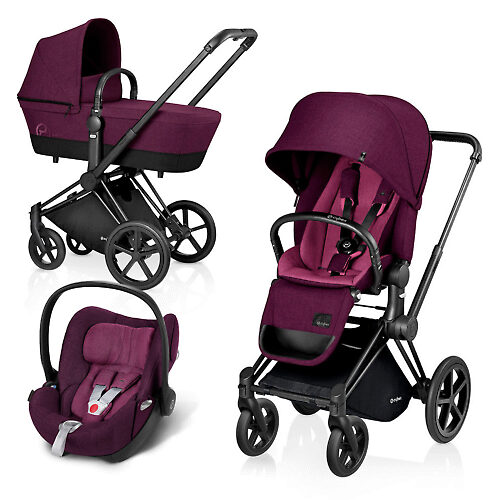 Cybex Priam Lux Matt Black + Cloud Q Plus - Фиолетовый (Mystic Pink) / Колеса Trekking