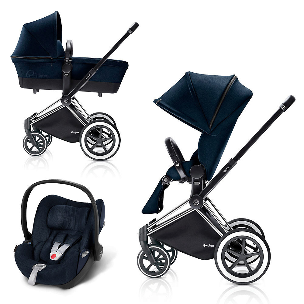 Cybex Priam Lux + Cloud Q Plus - Тёмно-синий (Midnight Blue) / Колеса All Terrain