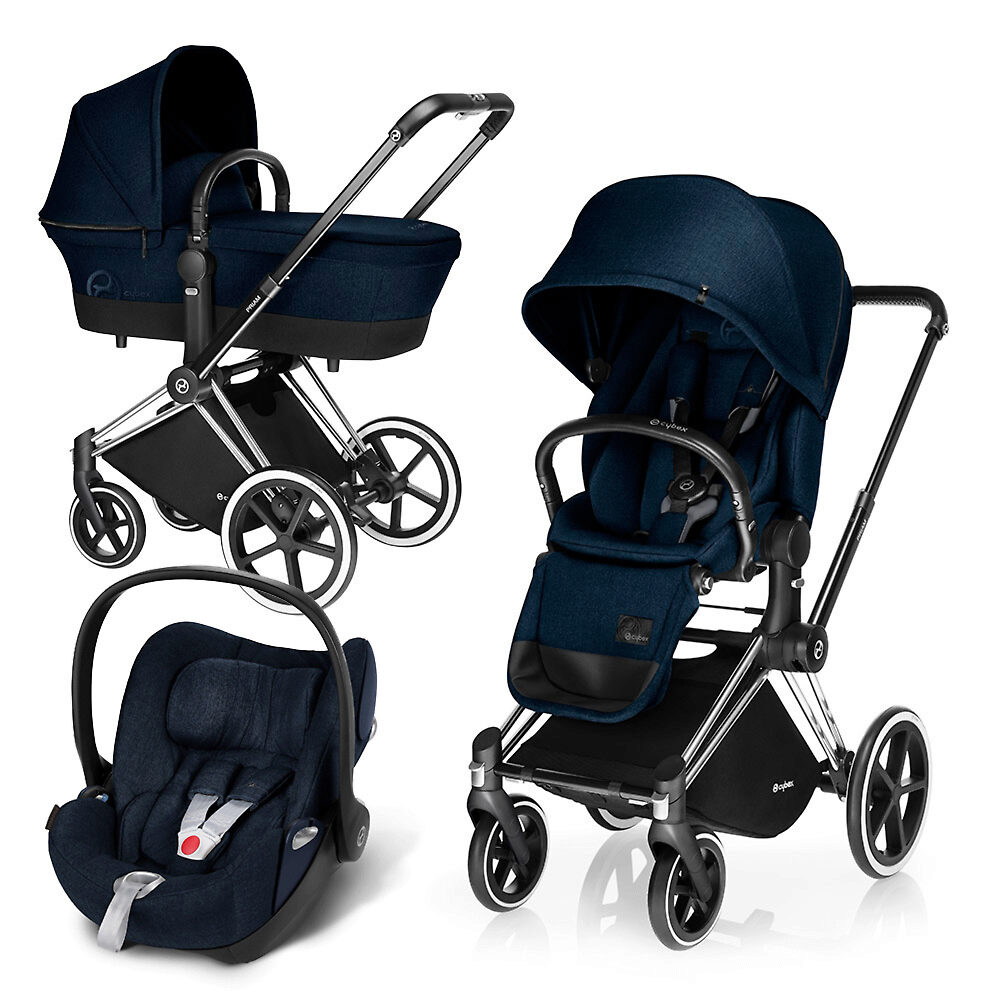 Cybex Priam Lux + Cloud Q Plus - Тёмно-синий (Midnight Blue) / Колеса Trekking