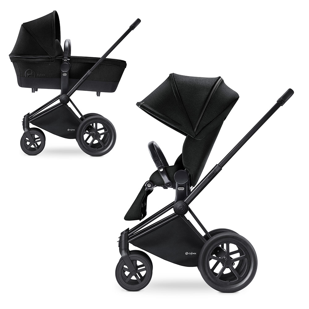 Cybex Priam Lux Matt Black - Чёрный (Stardust Black) / Колеса All Terrain
